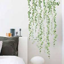 Amazon Com Pearls Vine Wall Decals Green Leaf Strings Nature Art Wall Stickers Hanging Branch Wall Decor For Kitchen Living Room Arts Crafts Sewing