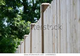 New White Cedar Fencing Fence Panels Parks Outdoor Stock Image 1456966421