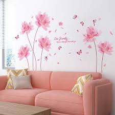 Pink Color Flowers Wall Stickers Diy Plant Elf Wall Decals For Living Room Bedroom Nursery Home Decoration Wall Stickers Aliexpress