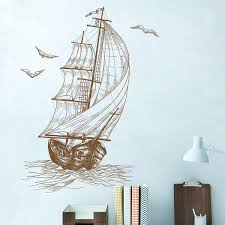 Home Art Decor Diy Ocean Seagull Sail Boat Wall Sticker Kids Nursery Room Baby Bedroom Pvc Art Wall Decals Wish