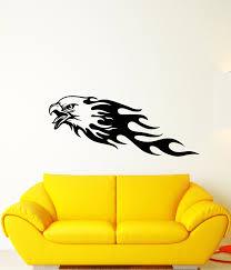 Vinyl Wall Decal Bald Eagle American Bird Patriotic Flames Stickers 4 Wallstickers4you