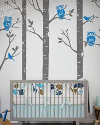 Birch Forest With Owls And Birds Wall Decal
