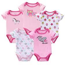 Bán Set 5 bộ body tay ngắn cho bé gái kèm móc. Set 5 áo liền quần ...
