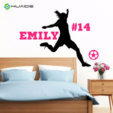 Personalized Soccer Player Wall Decal Custom Name Number Girls Female Wall Decor Vinyl Wall Sticker Mural Wall Art Poster A 26 Poster Pole Posters Photographsposter Bracket Aliexpress
