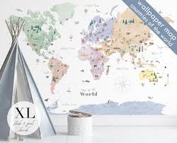 Large Countries Of The World Map Wall Decal Nursery Decor Etsy