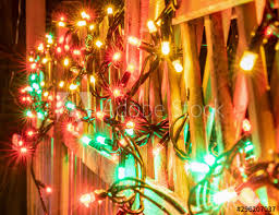 Very Shiny Christmas Decorations Outside At Night In Northern Countries Led Lamps Usage To Save Energy For Green Environment Blurred Close Up Photo Lamps Hung On Wooden Fence Sweden Buy