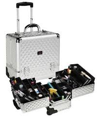 rolling makeup train case and cosmetic