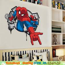 Cool 3d Spiderman Break Through The Wall Stickers Marvel Superhero Spider Man Wall Poster Decals Boys Kids Bedroom Wall Stickers Wall Sticker Bedroom Wall Stickersstickers Marvel Aliexpress