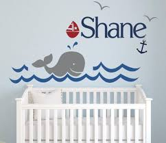 Nautical Whale Wall Decal Boys Name Art Decor Vinyl Lovely Decals World