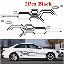 2pcs Car Side Body Waterproof Vinyl Decal Diy Styling Decoration Stickers Black In 2020 Vinyl Decal Diy Body Stickers Vinyl Decals