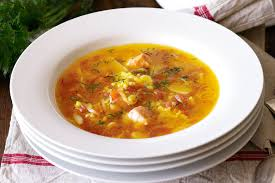 Fish soup with orange, saffron and dill