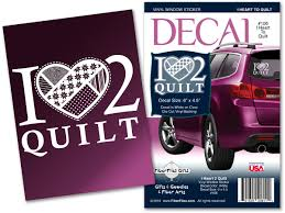 I Heart 2 Quilt Vinyl Decal For Car Or Home Fiberflies Gifts