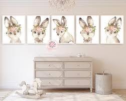 5 Boho Bunny Rabbit Wall Art Print Woodland Feather Nursery Baby Girl Pink Forest Cafe