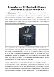 Importance Of Outback Charge Controller Solar Power Kit