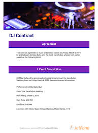 dj contract template pdf templates
