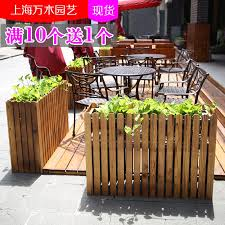 Anticorrosive Wood Partition Flower Stand Rectangular Wooden Fence Flower Pot Fence Planter Office Restaurant Outdoor Flower Box