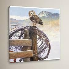 Loon Peak Owl On Rusty Fence Painting Print On Wrapped Canvas Wayfair