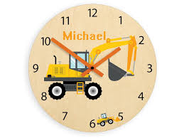 Kids Wall Clock Excavator With Personalizen Name Wood Clock Large Clock Kids Clock Childrens Clock Kids Room Wall Art Wall Decal