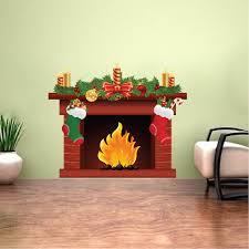 Christmas Fireplace Wall Decal Mural Living Room Wall Decal Murals Romantic Wall Decals Primedecals