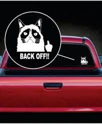 Grumpy Cat Back Off Flipping The Bird Decal Sticker Midwest Sticker Shop
