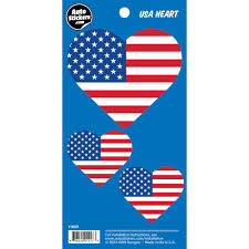 Usa American Flag Heart Stickers 3 Fun Size Decals Wall Palz