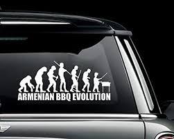 Amazon Com Epic Graphix The Armenian Bbq Evolution Funny Die Cut Vinyl Decal Sticker For Wall Car Laptop Black 12 Home Kitchen