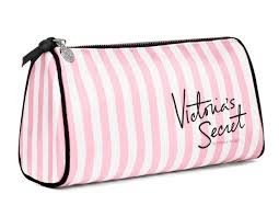 makeup bag pink and white stripes