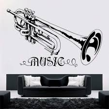 Trumpet Music Wall Sticker Removable Music Style Wall Decal Concert Decoration Design Poster Vinyl Trumpt Art Mural Decor Ay601 Wall Stickers Aliexpress