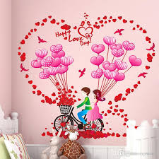 Romantic Bike Balloon Wall Sticker Decals Couples Home Decor Wall Stickers Room Decoration Heart Flower Wall Mural Sticker Wall Decals Deals Wall Decals Decor From Valnur 4 51 Dhgate Com