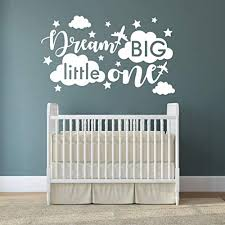 Quote Wall Decal Dream Big Little One Decal Baby Room Decor Quote For Kids Baby Boy Room Decorplane Decal Cloud And Star Decal Wall Decals Nursery Y40 Large White Wantitall