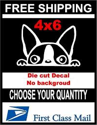 Peeking Dog Boston Terrier Vinyl Decal Sticker Car Laptop Window Whi 3c Signs