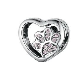 Exquisite Sterling Silver Heart With Pink Cz Dog Paw Print Jewelry Charm