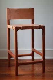 custom cherry and leather counter stool