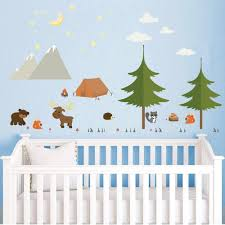 Amazon Com Decalmile Woodland Animals Wall Stickers Camping In The Mountains Decor Pine Tree Wall Decals For Kids Bedroom Nursery Baby Room Arts Crafts Sewing