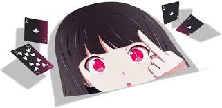 Amazon Com Anime Sticker Kakegurui 001 Big Head Peek Car Stickers Anime Vinyl Stickers Decorative Waifu Sticker Cartoon Car Decal Colorful 4 3 X 8 Automotive