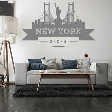 Usa New York City Skyline Wall Sticker Vinyl Decals Living Room Mural