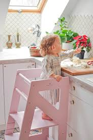 Kids Wooden Helper Learning Stool Kitchen Helper With Black White Drawing Board Home Garden Stools
