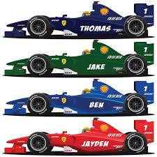 Personalised F1 Racing Car Bedroom Wall Sticker Decal Race Graphic W Eskvinyl