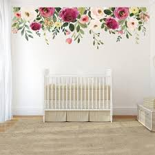New Jessica S Farmhouse Evening 02 Floral Wall Mural Etsy Floral Wall Decals Nursery Wall Decals Rose Wall