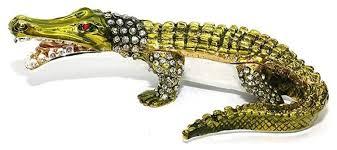 green crocodile 6 inch jewelry box with