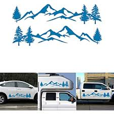 Amazon Com Lovelychica 2pcs Car Sticker Mountain Decal Tree Forest Vinyl Graphic Kit For Camper Rv Graphic Stickers And Decals For Truck Auto Car Body Side Door Trailer Beauty