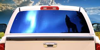 Howling Wolf Rear Window Graphic Decal Tint Wolves View Thru Vinyl Walmart Com Walmart Com