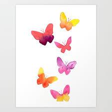Bustling Butterflies Butterfly Art Kids Room Decor Nursery Decor Girls Room Decor Art Print By Sherbetpaper Society6