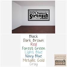 Work Exercise Decal Fitness Room Decor Custom Quote Fitness Wall Decal Gym Wall Homegym