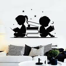 2004086395 Reading Book Sticker Kids Read Decal Beauty Posters Vinyl Wall Decals Decor Mural Kids Room Decoration Wall Decal Home Garden Home Decor