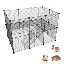 Simpdiy Metal Pet Playpen Small Animal Fence Diy Portable Indoor Outdoor Exercise Cage For Puppy Rabbit Bunny Guinea Pigs 2 Tiers With 26 Panels 35x35cm Each Panel Amazon Co Uk Pet Supplies