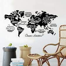 Removable Letter World Map Vinyl Decal Art Mural Home Decor Wall Stickers For Kids Room School Office Decoration Wall Stickers Aliexpress