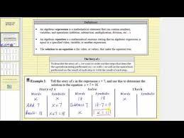 an algebraic equation and solving