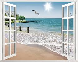 Sunshine Beach 3d Window View Removable Wall Art Stickers Vinyl Decal Home Decor Beach Wall Murals Removable Wall Art Decals Beach Wall Decals
