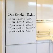 Amazon Com English Letters Our Kitchen Rules Wall Decal Home Sticker Pvc Murals Vinyl Paper House Decoration Wallpaper Living Room Bedroom Kitchen Art Picture Diy For Children Teen Senior Adult Nursery Baby Baby
